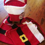 10 x gift bags santa outfit felt and glitter belt measure approx 20cm x 22cm