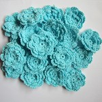 LAST SET 5 Topaz Blue Crochet Flowers