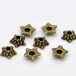 50 Antique Bronze Star Beads Caps Findings Fit 8-10mm Beads