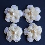 4 Lace Flowers and Pearls- Ivory.