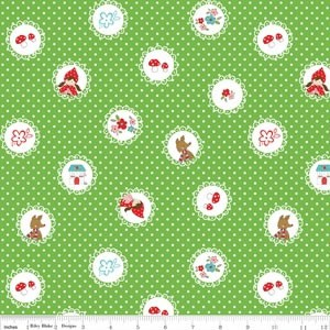 1/2 mtr - Little Red Riding Hood - Scallops in Green by Tasha Noel