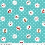 1 mtr - Little Red Riding Hood - Scallops in Aqua by Tasha Noel