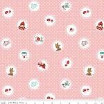 1 mtr - Little Red Riding Hood - Scallops in Pink by Tasha Noel