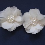 2 Chiffon Flowers with Pearls -Ivory