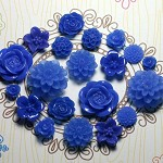 20pcs - Resin Flower Cabochons - Navy