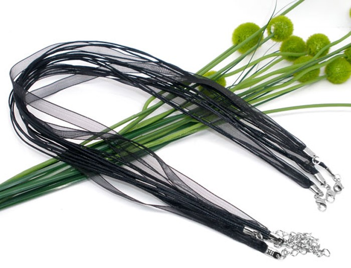 8 Black Organza ribbon and waxen cord necklaces