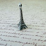 5 Antiqued Silver 3D Eiffel Tower Charms