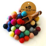 Felt Balls 1cm to 1.5cm x200 Mixed Colours. Wool. Colourful Beads. Bulk