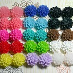 Flower Cabochon Mix - 30pcs - 15mm Dahlia Sampler
