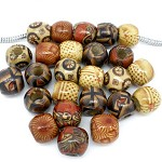 25 Painted Wood Beads