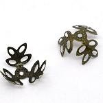 50 Antique Bronze Beads Caps Findings 14 x 14mm