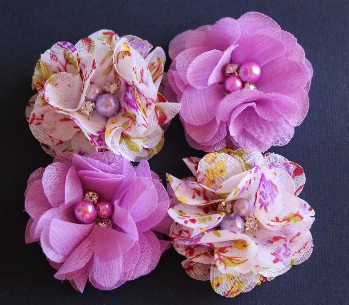 4 Chiffon Flower Rhinestone Pearl- Lavender and Floral