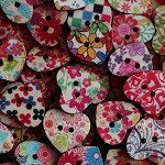 10 Printed Design Love Heart Buttons