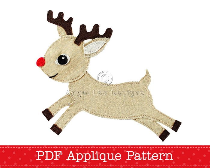 Reindeer Applique Template Christmas Reindeer Applique Pattern PDF ...