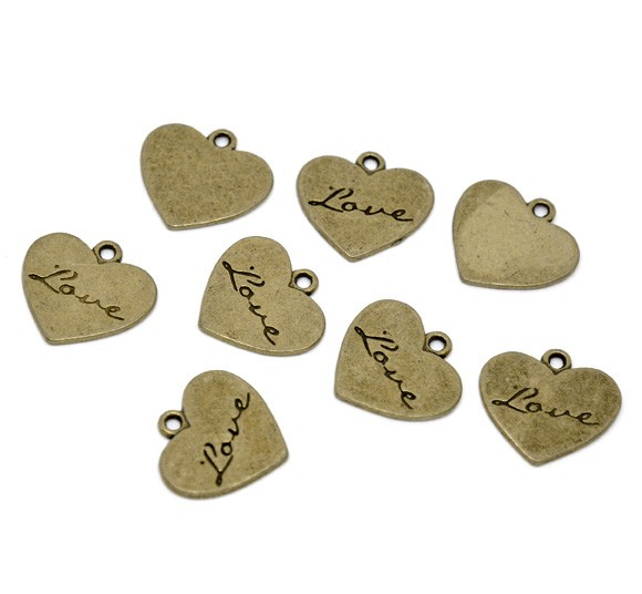 10 Antique Bronze' Love' Heart Charm Pendants