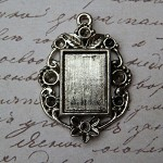 5 Antique Style Rectangle Cameo Setting Pendants 14x10mm