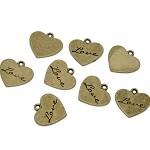 10 Antique Bronze' Love' Heart Charm Pendants