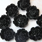 8  Black Peony Flower  Flatback Cabochon