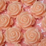 Apricot Rose Flower  Flatback Cabochon