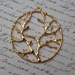 3 Gold Tone Alloy Ring Branch Pendants Charms 40mm