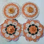 4 Handmade Orange Button Paper Flower Embellishments