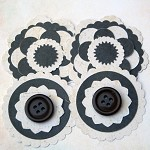 4 Handmade Chocolate and Cream Paper Flower Embellishments
