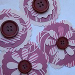 4 Handmade Burgundy Button Paper Flower Embellishments