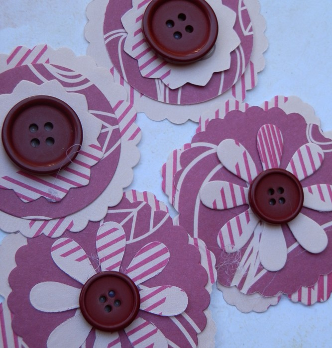 4 Handmade Burgundy Button Paper Flower Embellishments