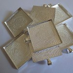 10 x Square 35mm silver plated pendant trays