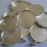 10 x Round 38mm silver plated pendant trays