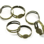 20 Antique Bronze 8mm Pad, Adjustable Rings