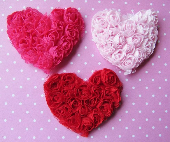 9 Shabby Chiffon Rose Hearts -3 colors