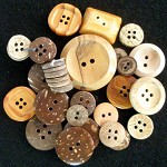 Wood and coconut shell vintage buttons mix