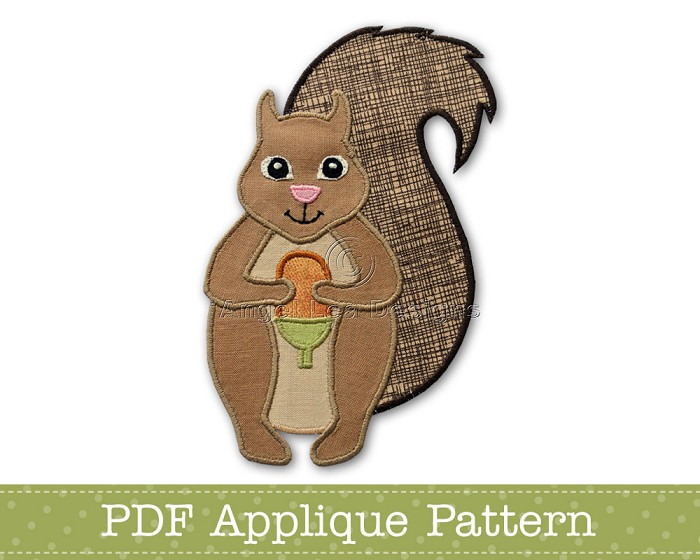 Squirrel Applique Template. PDF Pattern. Woodland Animal Applique Design