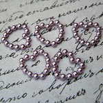 200 Purple Acrylic Imitation Pearl Heart Embellishments