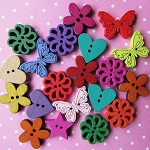 40 Bright & Colourful Assorted Wooden Buttons