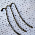 10 Bronze Tone Pattern Bookmarks With Loop 8.5cm