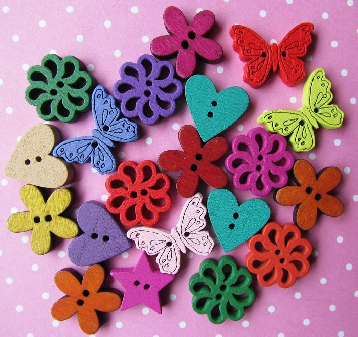 20 Bright & Colourful Assorted Wooden Buttons