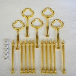 Cake Stand Handle / Fitting 3 Tier Gold HEAVY Clover Centre Hardware Kit x 5