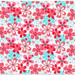 1.25mtrs - Nearby Floral in Aqua from Aqua and Red by Michael Miller