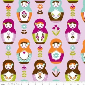 3mtrs - Matryoshka Main in Purple from Little Matryoshka -Riley Blake Design