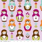 3mtrs - Matryoshka Main in Purple from Little Matryoshka -Riley Blake Design