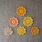 Pack of 6, Crochet doilies, motives, ornaments in shades of yellow