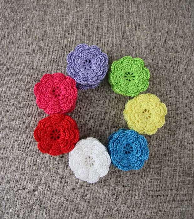 Multi pack of 7, Crochet flowers in lime green, purple, red, aqua, white