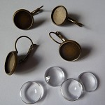 20 x 12mm earring trays and glass (10 pairs) - Antique bronze