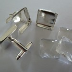 10 x 15mm Square Cufflink trays AND glass domes - silver plated