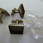10 x 15mm Square Cufflink trays with glass domes - antique bronze