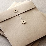 160mm Square Brown Kraft String and Button Envelopes - 5 Pack