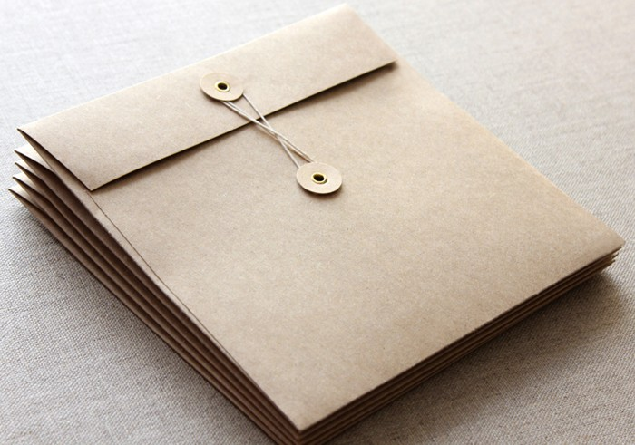 160mm Square Brown Kraft String and Button Envelopes - 5