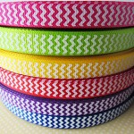 1metre - Chevron Grosgrain Printed Ribbon 10mm (3/8 inch wide)